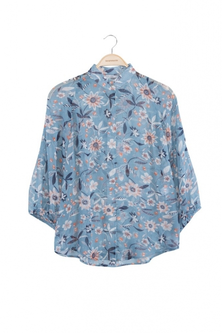turquoise shirt with flowers