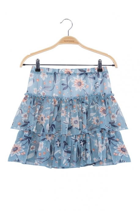 turquoise skirt with flowers