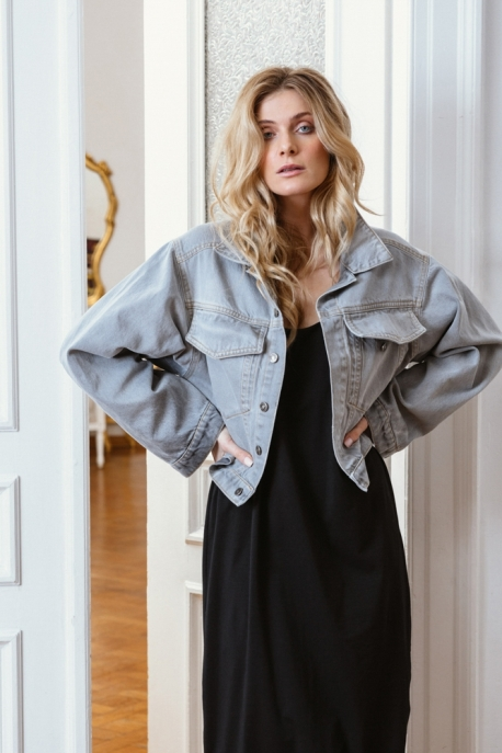 grey oversized denim jacket