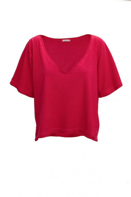 red t-shirt with v-neck