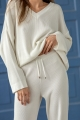 ivory cotton sweater with v-neck