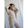 beige cotton sweater with v-neck