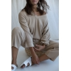 beige wide ribbed trousers