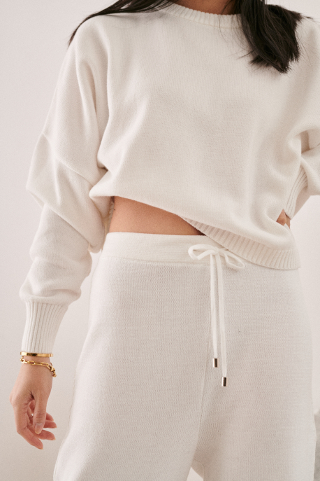 ivory cotton trousers
