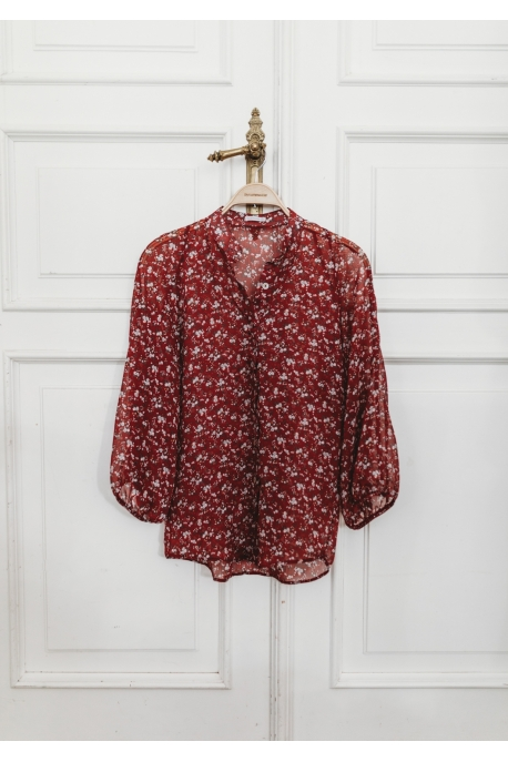 red shirt with flowers